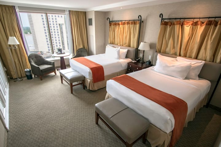 Guest room at the Harrah's New Orleans in New Orleans, Louisiana