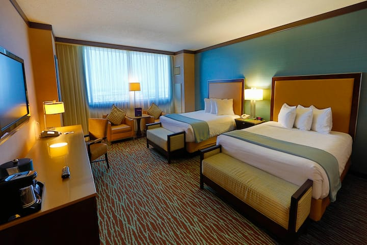 Guest room at the Harrah's Resort Atlantic City in Atlantic City, New Jersey