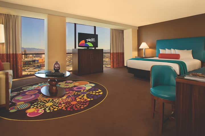 Guest room at the Rio All-Suite Hotel & Casino,Trademark Collection by Wyndham in Las Vegas, Nevada
