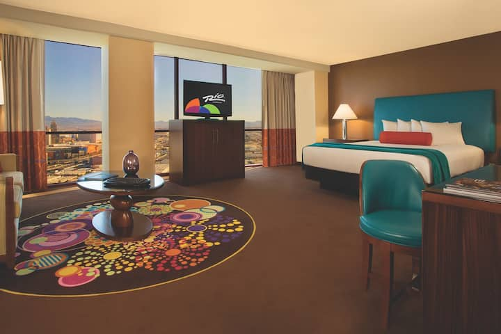 Guest room at the Rio All-Suite Hotel & Casino in Las Vegas, Nevada