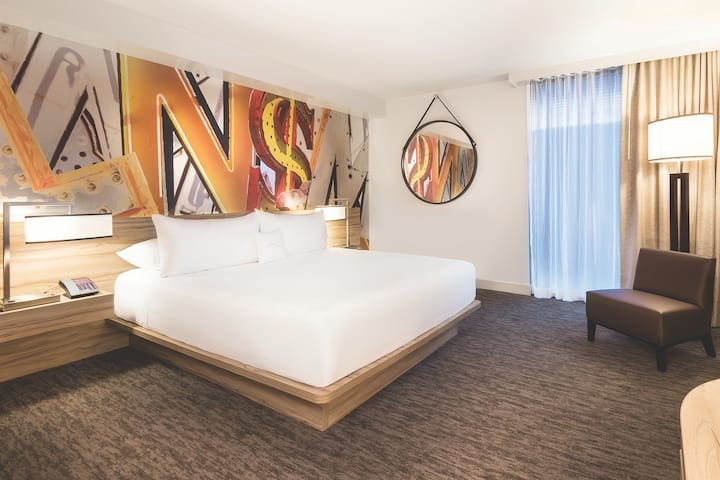 Guest room at the The LINQ Hotel and Casino in Las Vegas, Nevada