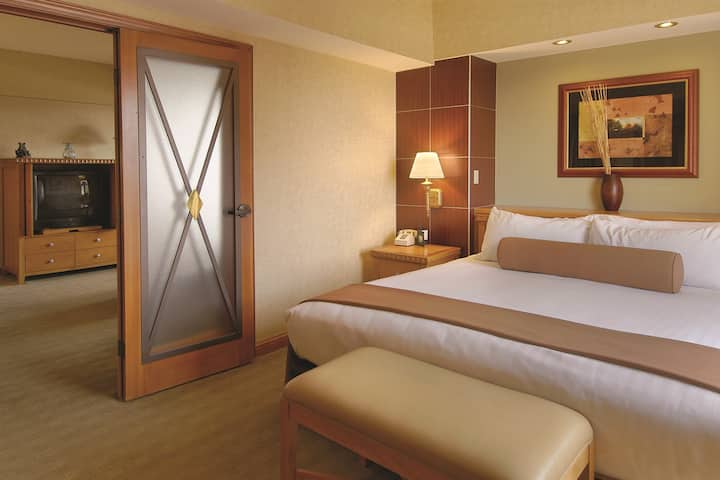 Guest room at the Harrah's Lake Tahoe in Stateline, Nevada