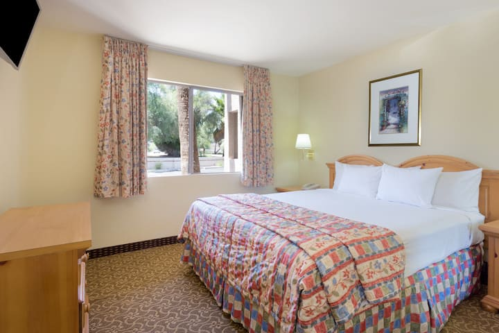 Guest room at the Days Inn & Suites Tempe in Tempe, Arizona