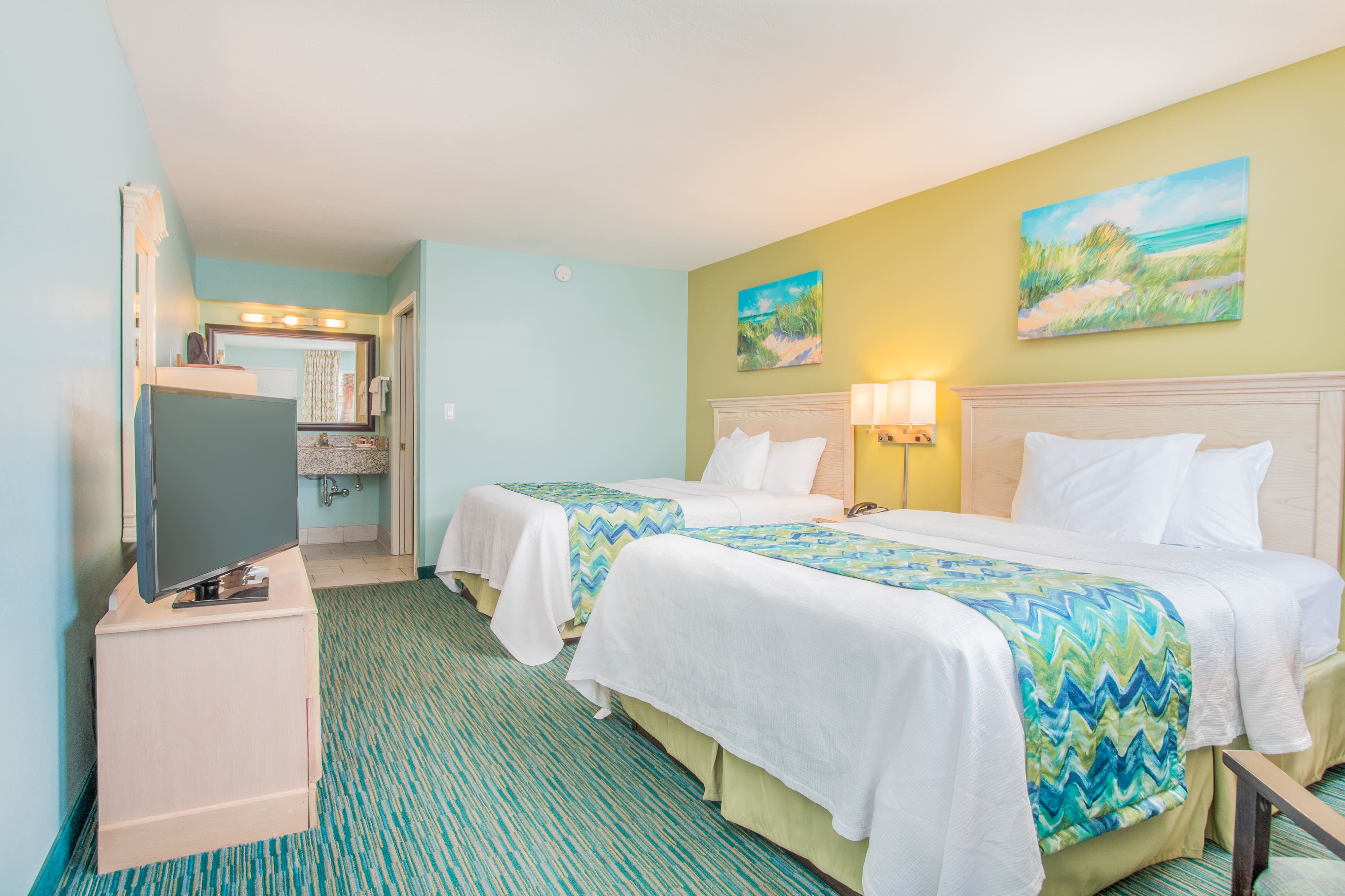 Guest room at the Days Inn Pensacola Beachfront in Pensacola Beach, Florida