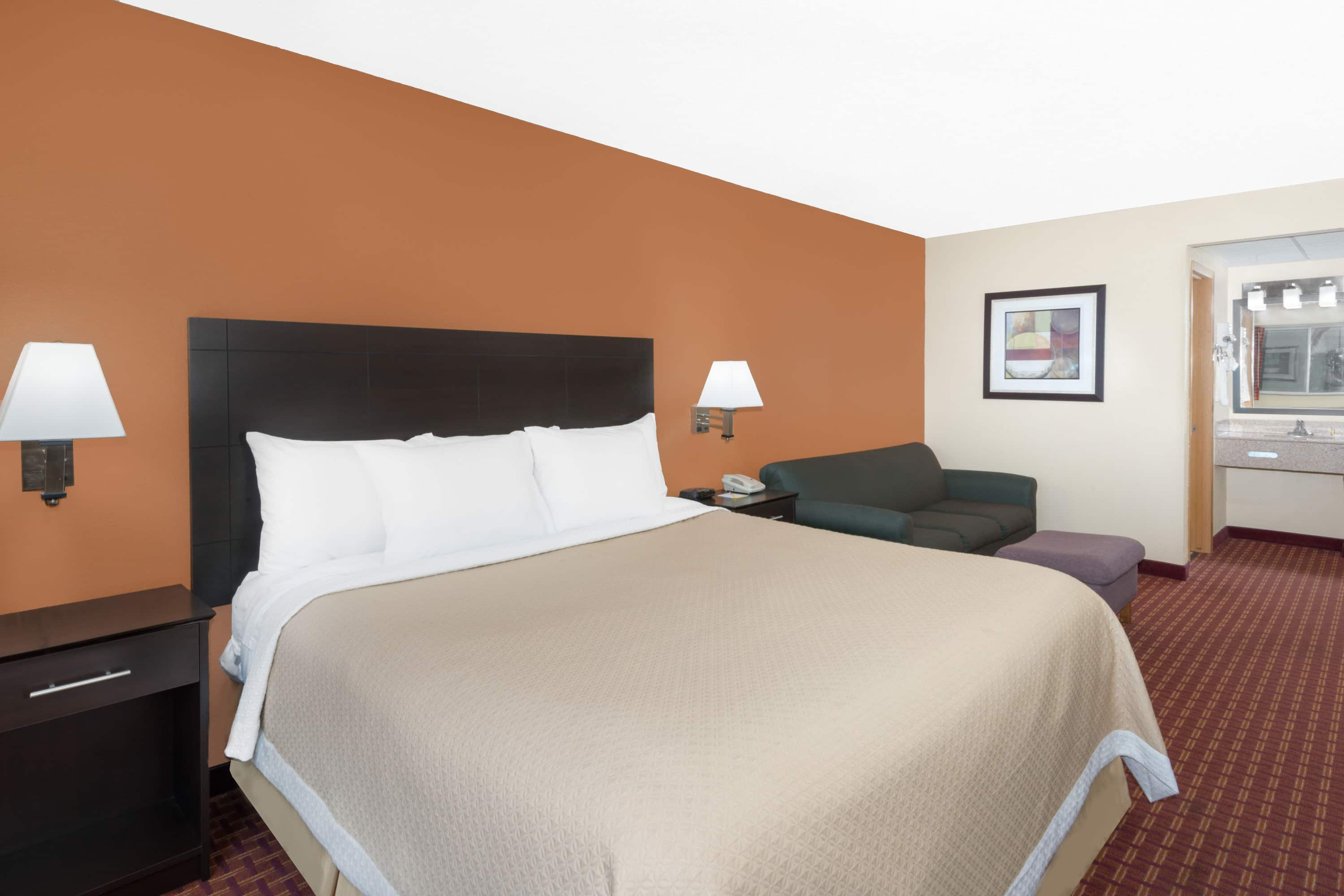 Guest room at the Days Inn Ames in Ames, Iowa