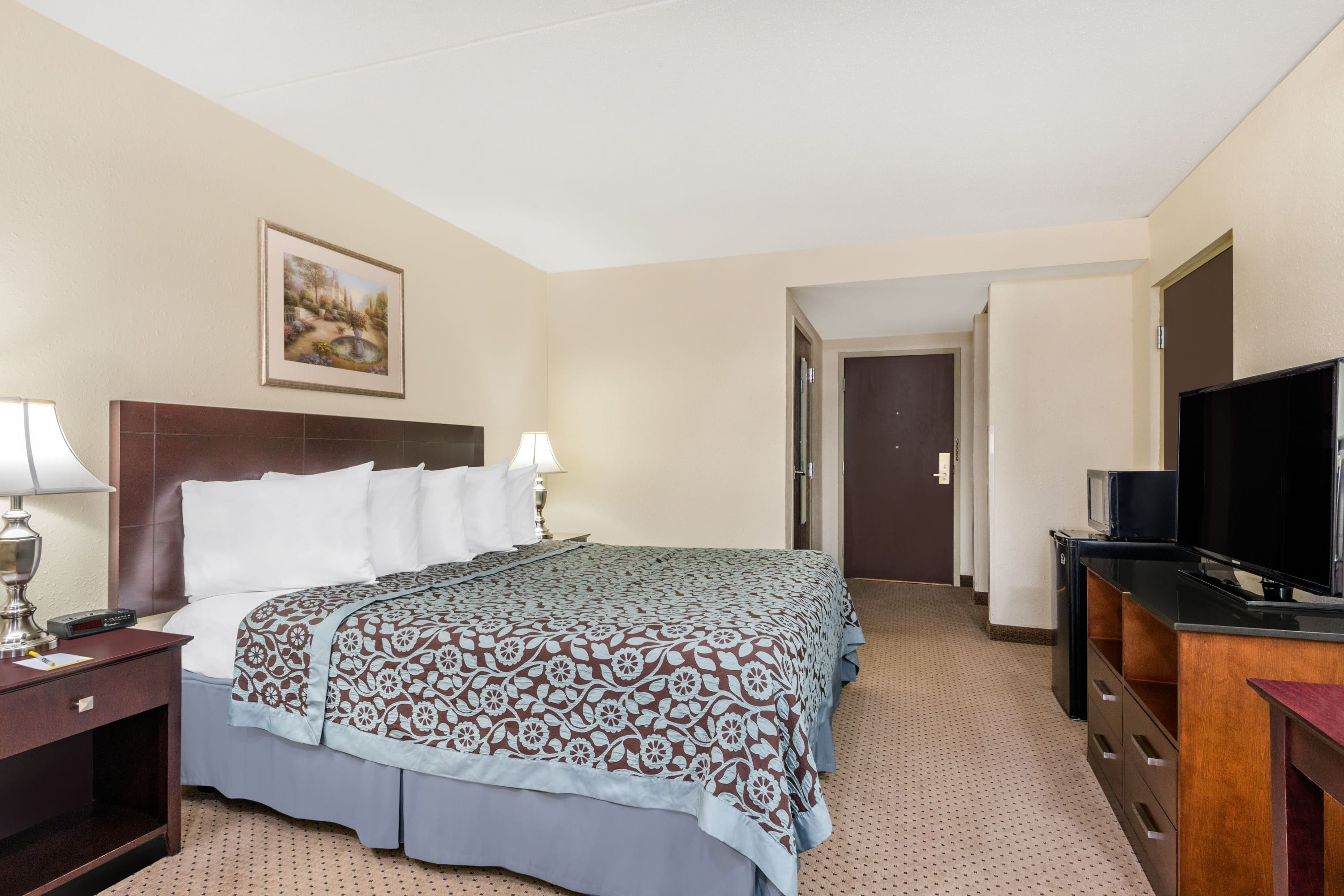 Guest room at the Days Inn Indianapolis Off I-69 in Indianapolis, Indiana