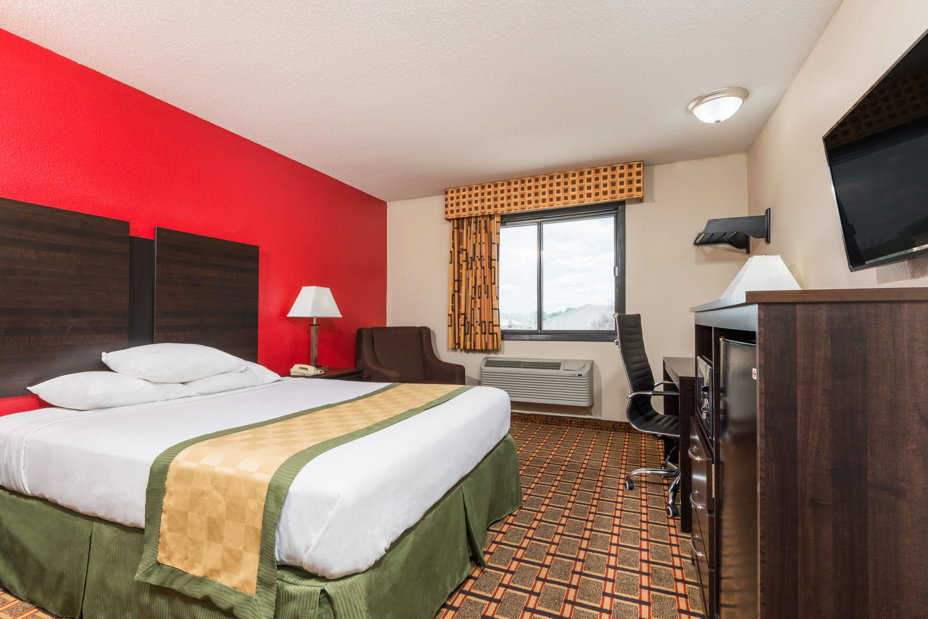 Guest room at the Days Inn Muncie -Ball State University in Muncie, Indiana