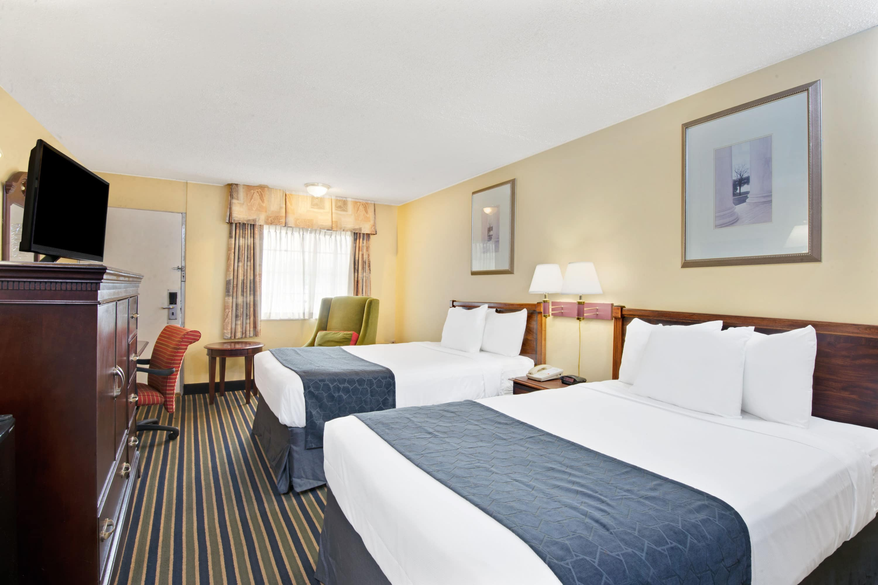 Guest room at the Days Inn Towson in Towson, Maryland