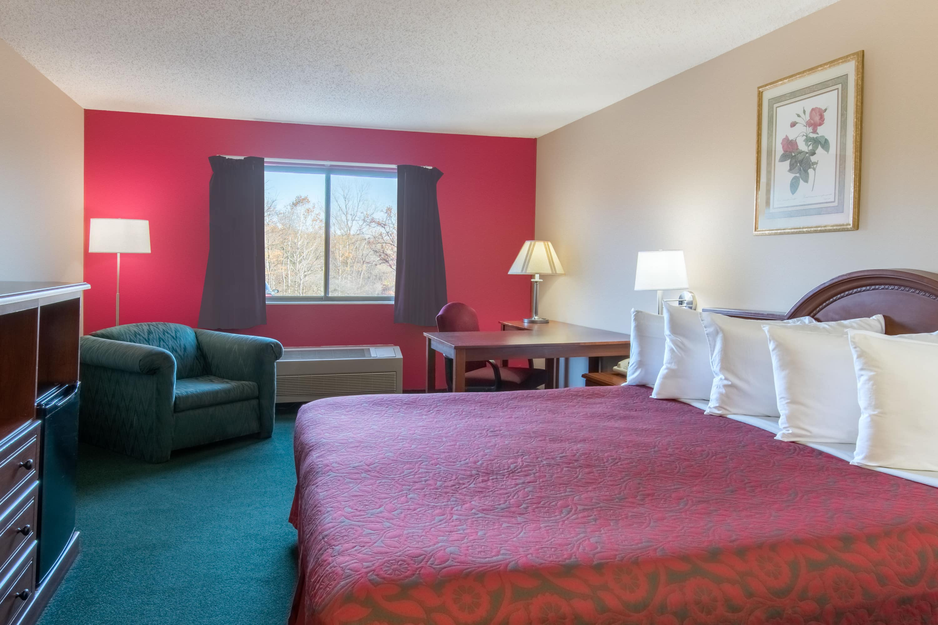 Guest room at the Days Inn Wooster in Wooster, Ohio