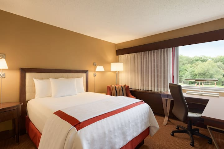 Guest room at the Q Center in St Charles, Illinois