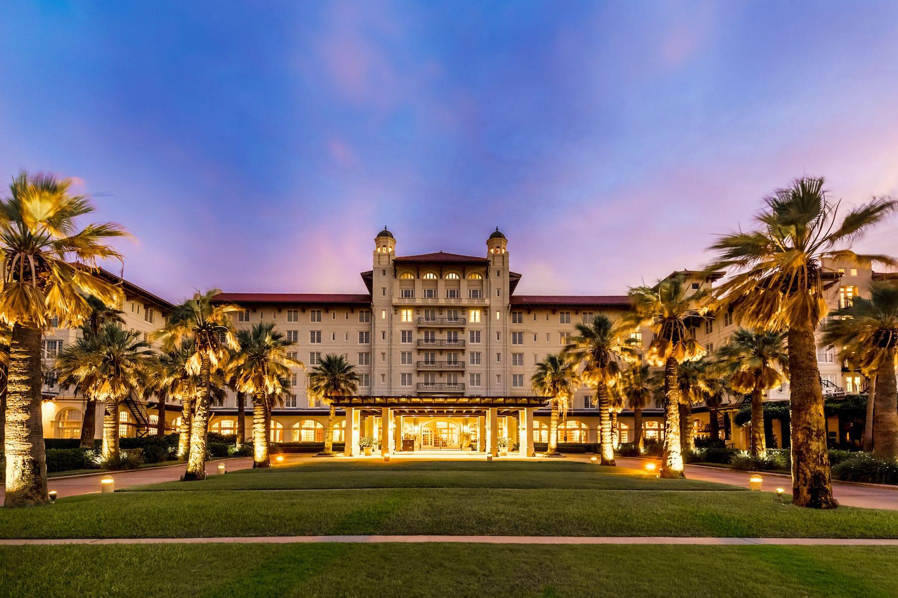Exterior of Hotel Galvez & Spa A Wyndham Grand Hotel hotel in Galveston, Texas