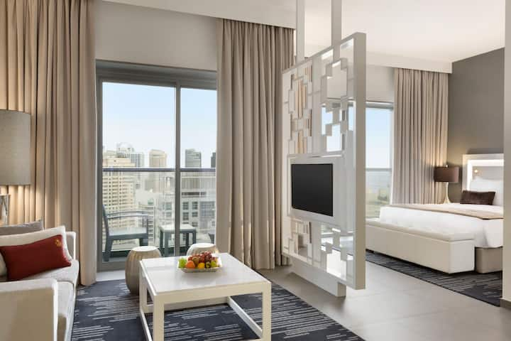 Guest room at the Wyndham Dubai Marina in Dubai, Other than US/Canada