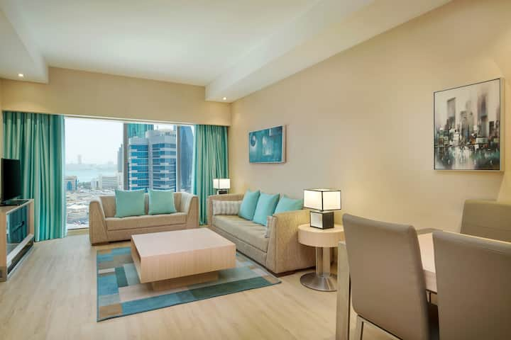 Guest room at the Wyndham Doha West Bay in Doha, Other than US/Canada