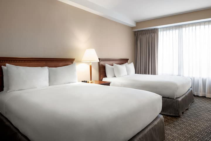 Guest room at the Wyndham Springfield City Centre in Springfield, Illinois