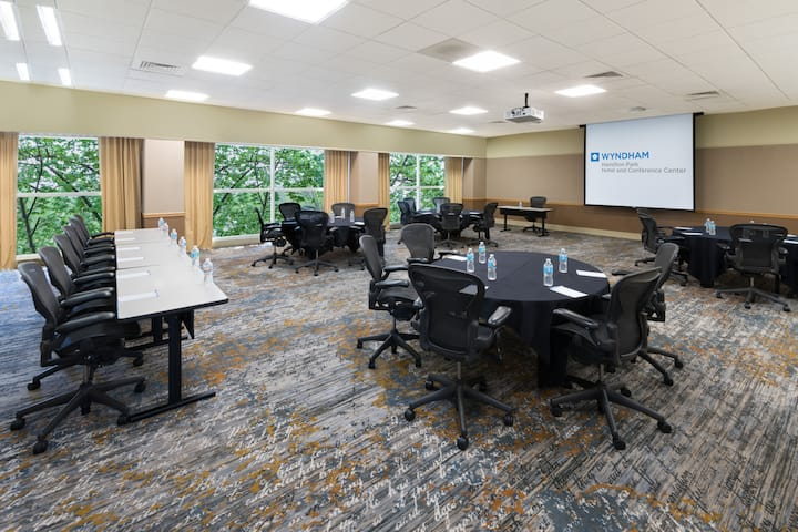 Meeting room at Wyndham Hamilton Park Hotel and Conference Center in Florham Park, New Jersey