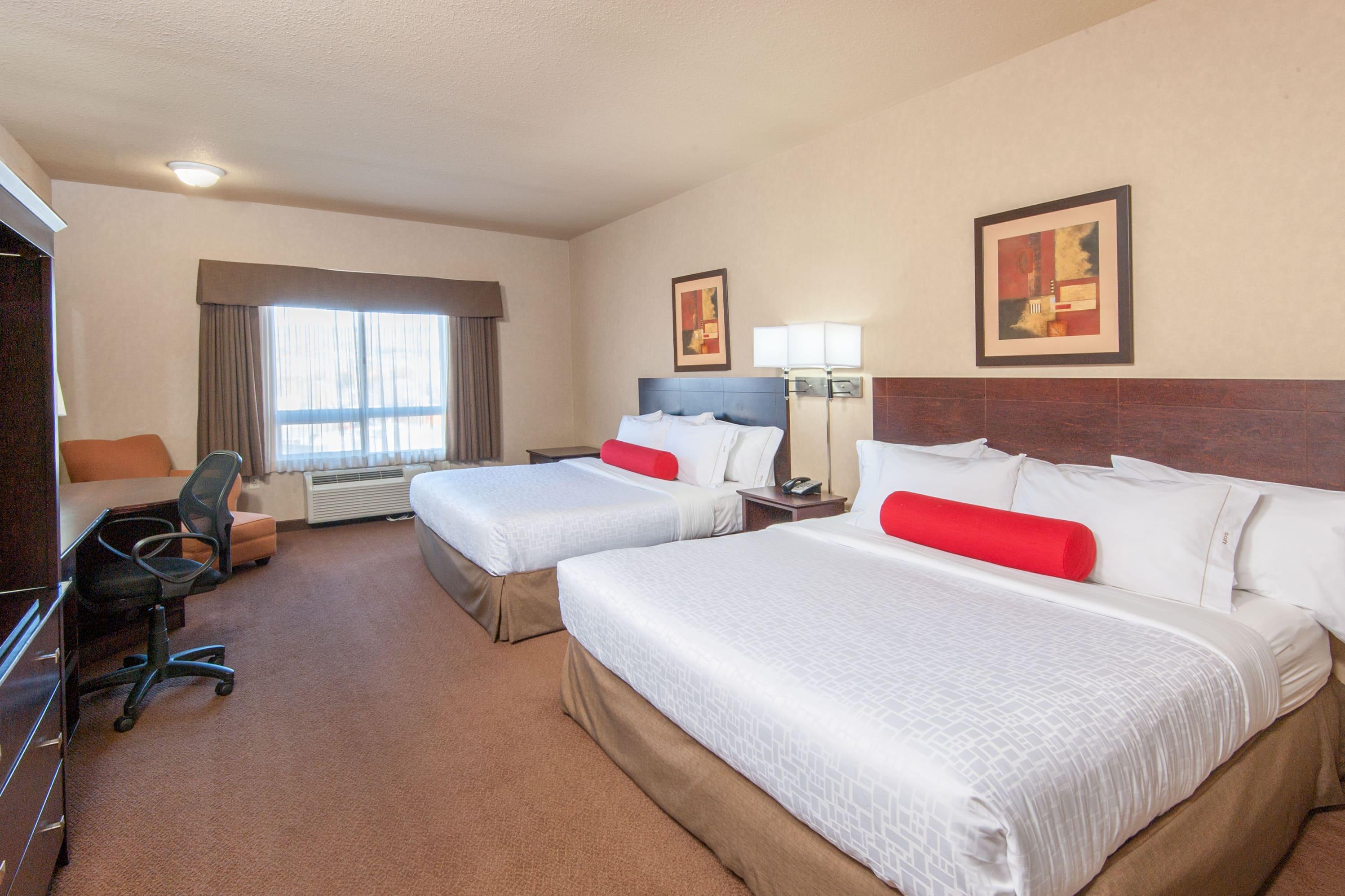 Guest room at the Ramada Drumheller Hotel & Suites in Drumheller, Alberta