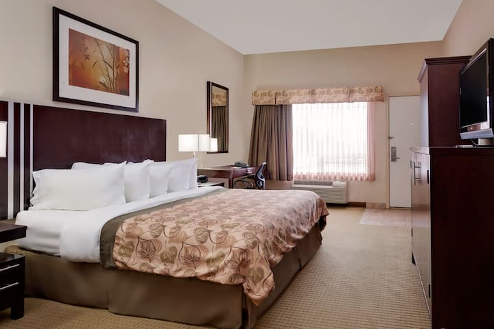 Guest room at the Ramada Lac La Biche in Lac La Biche, Alberta