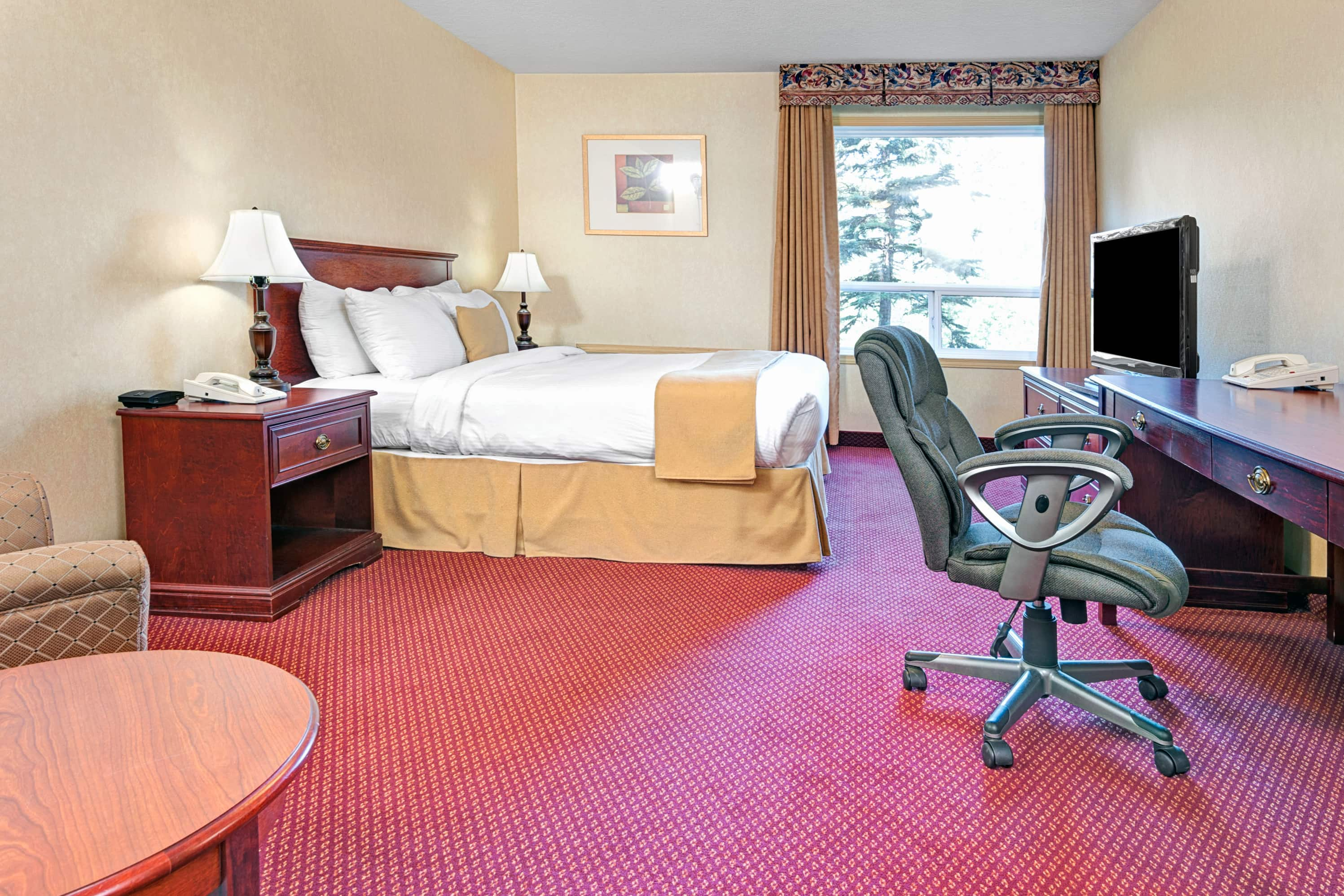 Guest room at the Ramada Edmonton International Airport in Leduc, Alberta