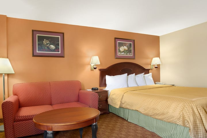 Guest room at the Ramada Limited Columbia in Columbia, South Carolina