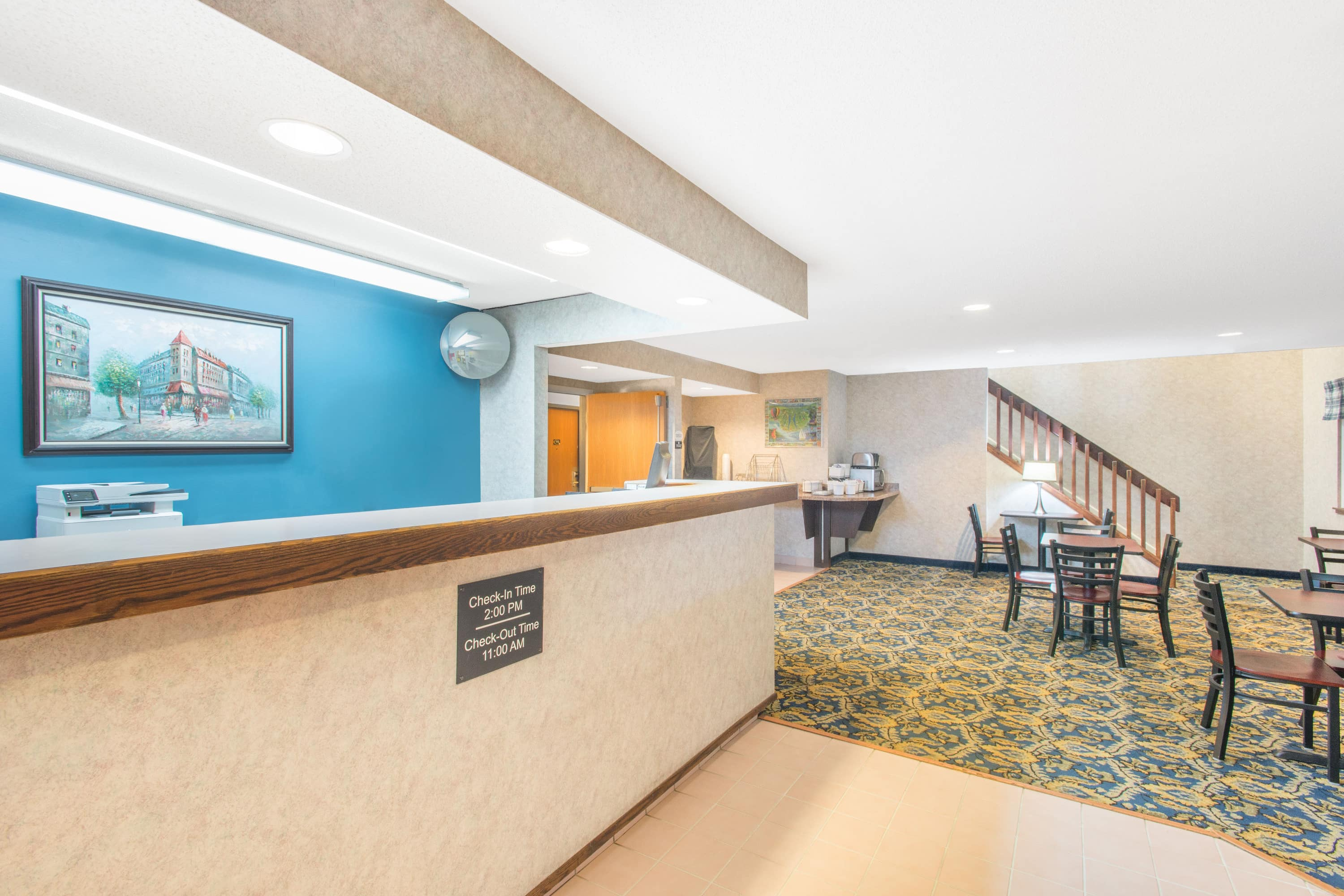 Super 8 by Wyndham Webster/Rochester hotel lobby in Webster, New York
